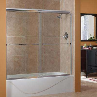 Cove 50 in. to 54 in. x 55 in. Semi-Framed Sliding Bypass Tub/Shower Door in Silver with 1/4 in. Clear Glass