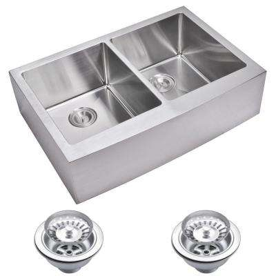 Farmhouse Apron Front Small Radius Stainless Steel 33 in. Double Bowl Kitchen Sink with Strainer in Satin