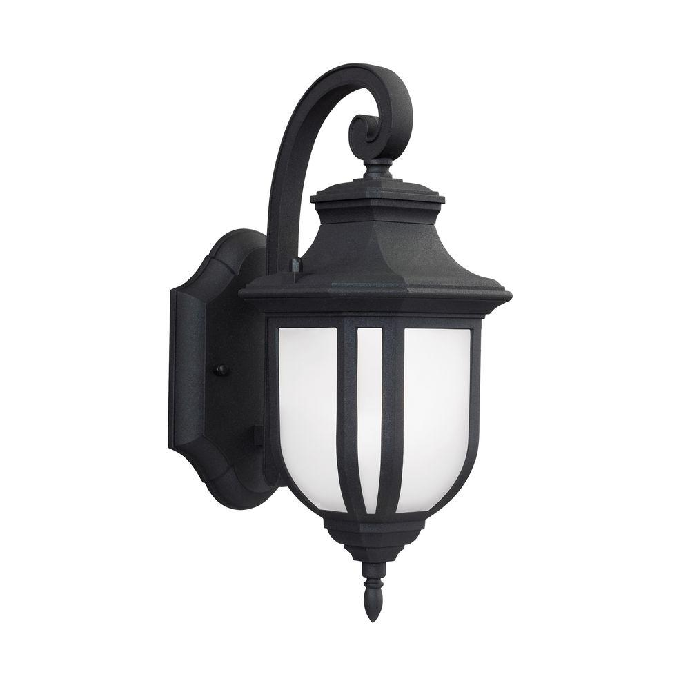 Sea Gull Lighting Childress 1-Light Black 12.625 in. Wall Lantern Sconce