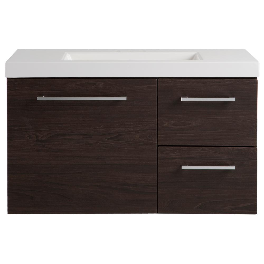 Domani Larissa 37 in. W x 19 in. D Bathroom Vanity in Elm Ember with Cultured Marble Vanity Top in White with White Sink