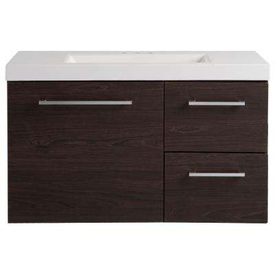 Larissa in 36.50 in. W x 18.75 in. D Wall Hung Vanity in Elm Ember with Cultured Marble Vanity Top in White with Basin