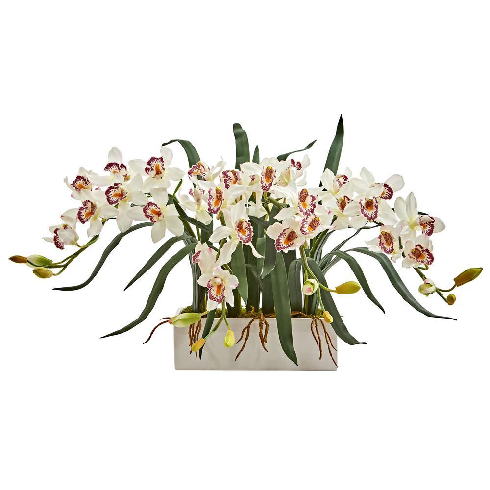 Indoor Cymbidium Artificial Arrangement in White Vase