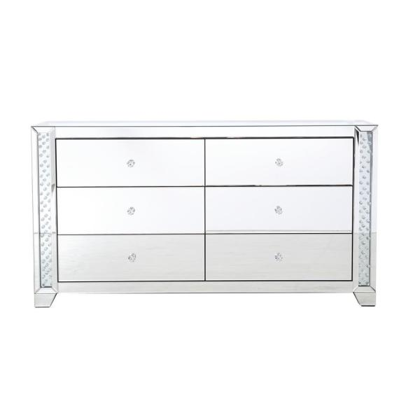 Timeless Home 6-Drawer in Clear Mirror Storage Cabinet 31.5 in. H x 60 in. W x 18 in. D