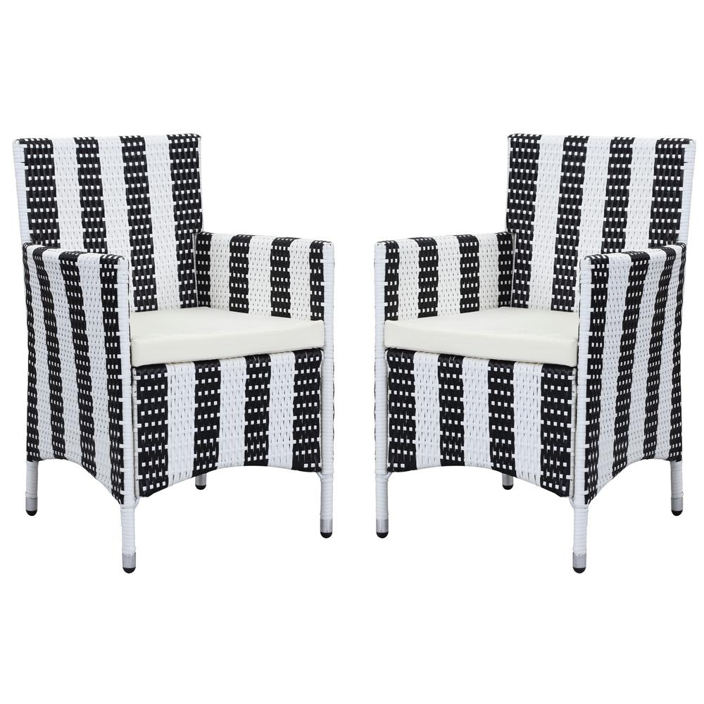 Kendrick Black And White Wicker Outdoor Dining Chair With Beige Cushion Set Of 2