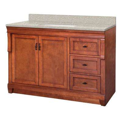 Naples 49 in. W x 22 in. D Vanity in Warm Cinnamon with Engineered Marble Vanity Top in Sedona with White Sink