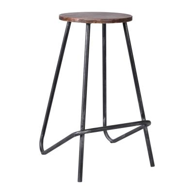 Cassidy 27 in. Silver Brushed Gray with Rustic Pine Wood Seat Barstool