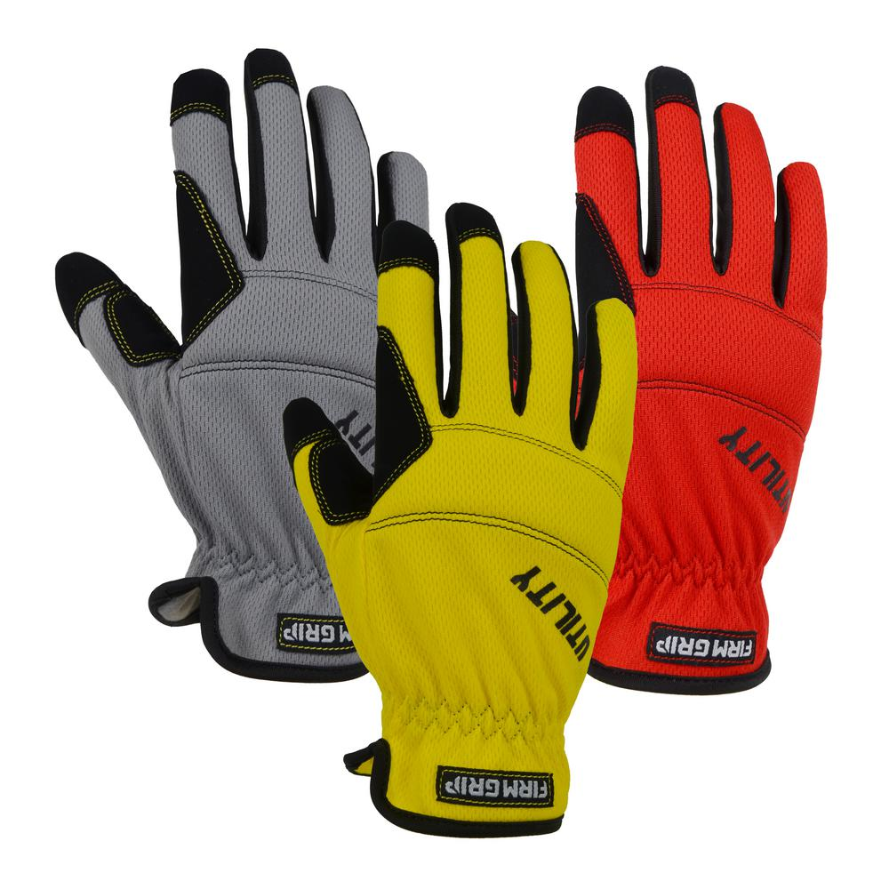 Utility Large Multi Color Synthetic Leather Glove (3-Pack)