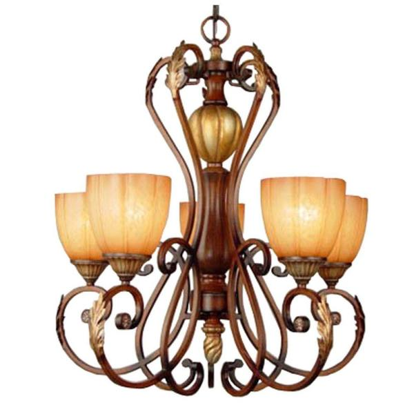 Hampton Bay Chateau Deville 5 Light Walnut Chandelier With Champagne Glass Shades 17022 The Home Depot