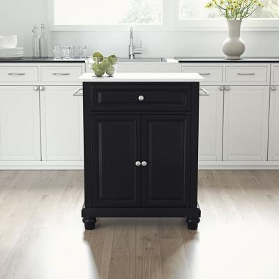 Cambridge Black Portable Kitchen Cart/Island with Granite Top
