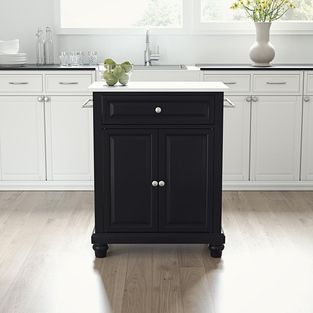 Cambridge Black Portable Kitchen Cart/Island with Granite Top