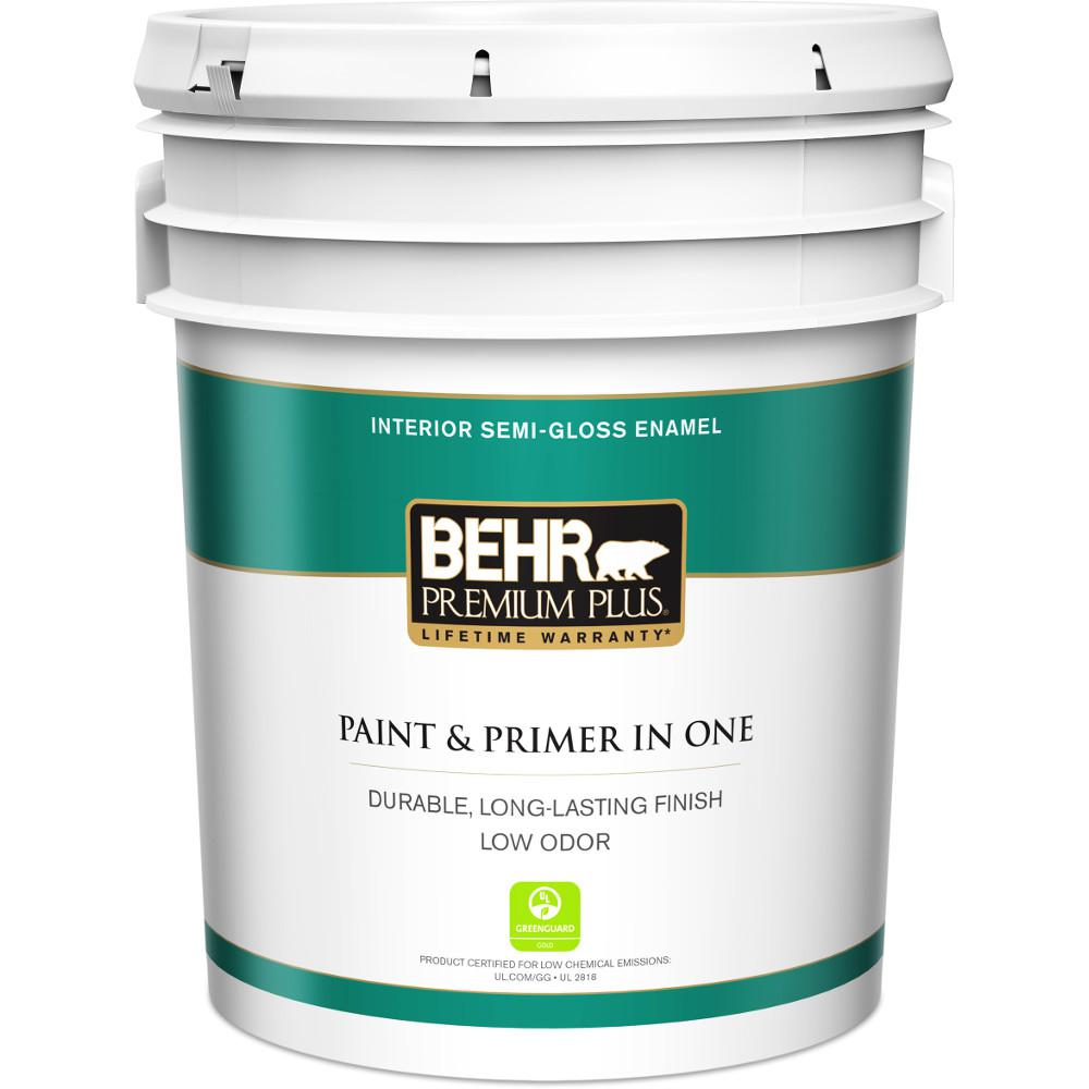 BEHR Premium Plus 5 Gal. Ultra Pure White Semi-Gloss