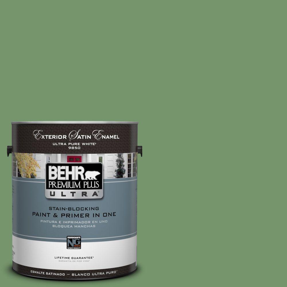 BEHR Premium Plus Ultra 1-Gal. #UL210-16 Botanical Green Satin Enamel Exterior Paint