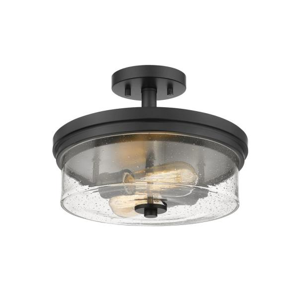 2-Light Matte Black Semi-Flush Mount with Clear Seedy Glass Shade