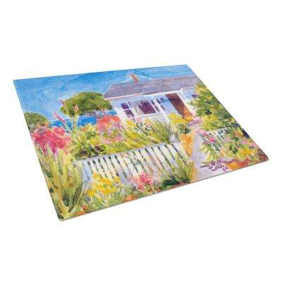 Seaside Beach Cottage Tempered Glass Large Cutting Board