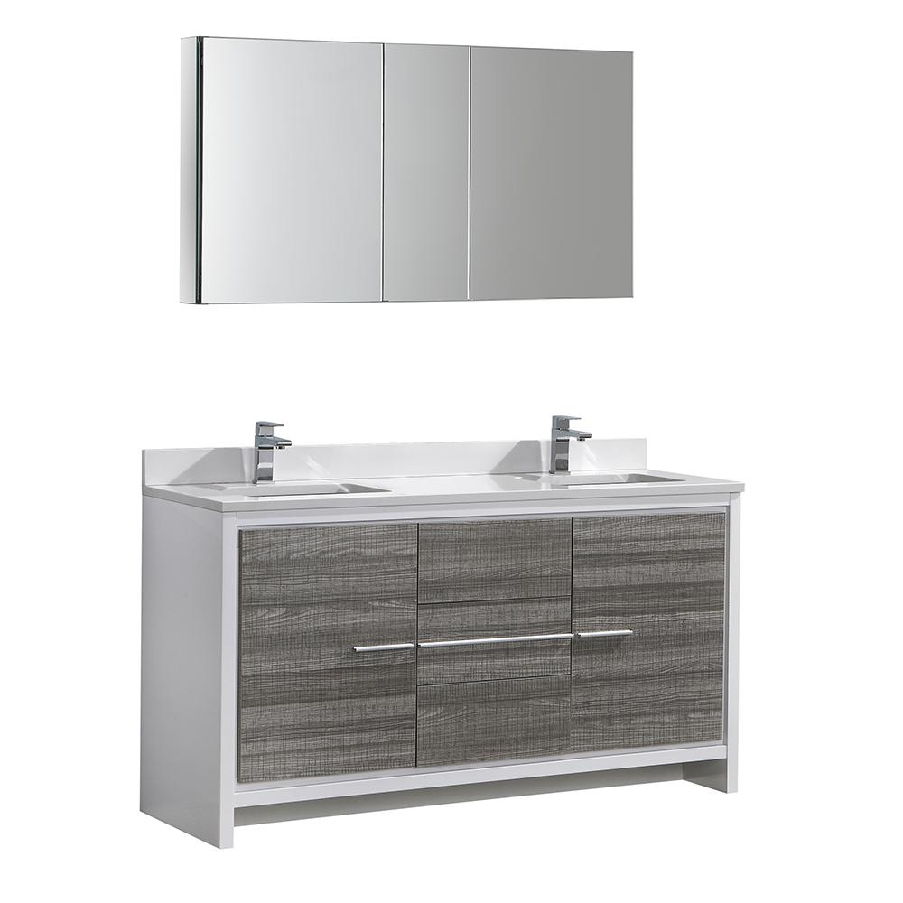 . Fresca Allier Rio 60 in  Modern Bathroom Vanity in Ash Gray with Double  Quartz Stone Vanity Top in White and Medicine Cabinet