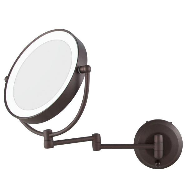 Zadro 15 In L X 12 In W Led Lighted Round Wall Mount Bi View 10x 1x Magnification Beauty Makeup Mirror In Bronze Ledw810 The Home Depot