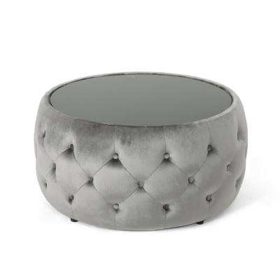 Chana Glam Smoke Velvet and Tempered Glass Ottoman-Style Coffee Table