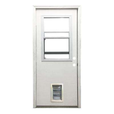 32 in. x 80 in. Classic Vented Half Lite LHIS White Primed Textured Fiberglass Prehung Front Door with Med Pet Door
