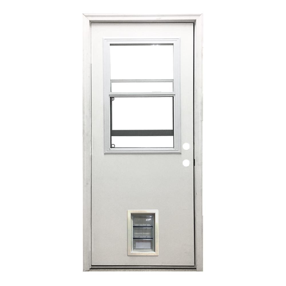 30 in. x 80 in. Classic Vented Half Lite LHIS White Primed Textured Fiberglass Prehung Front Door with Med Pet Door