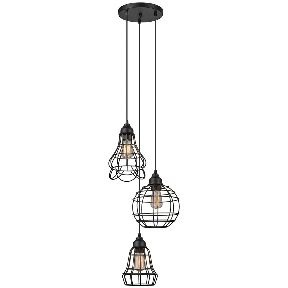 Globe Electric Jorah 3-Light Oil-Rubbed Bronze Cage Cluster Pendant