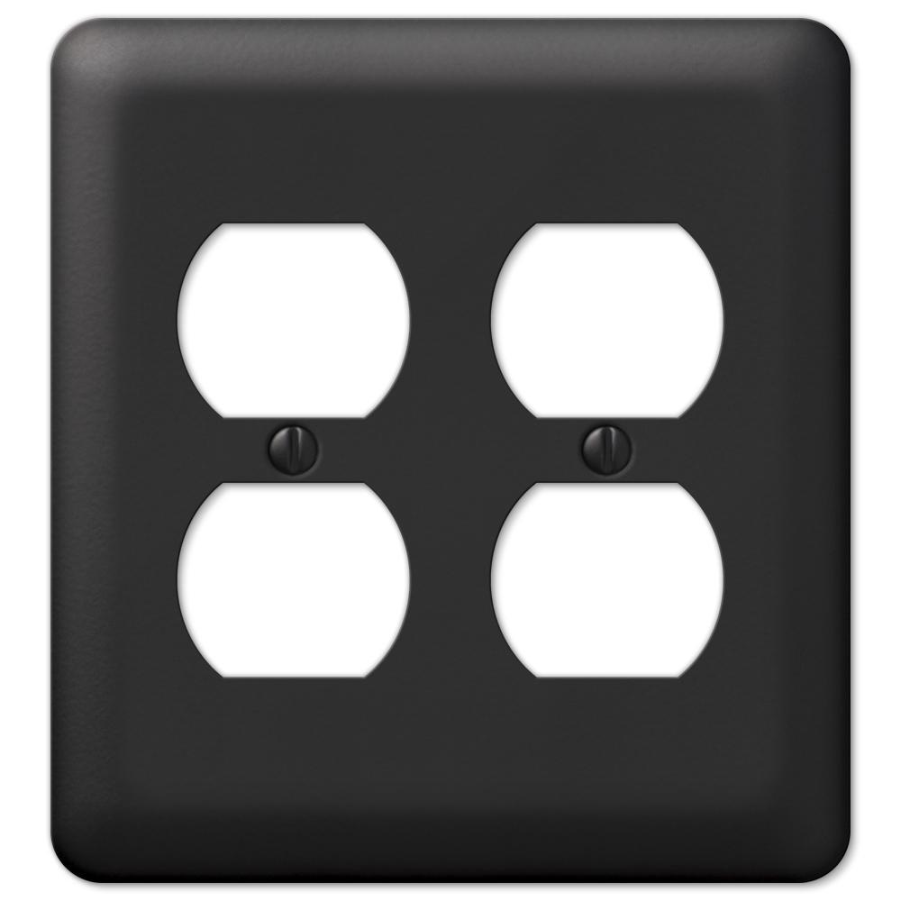 Declan 2 Gang Duplex Steel Wall Plate - Black