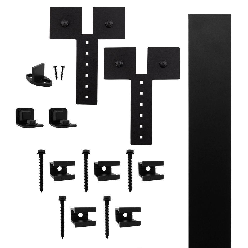 Dually Strap Black Rolling Barn Door Hardware Kit with 3 in.
