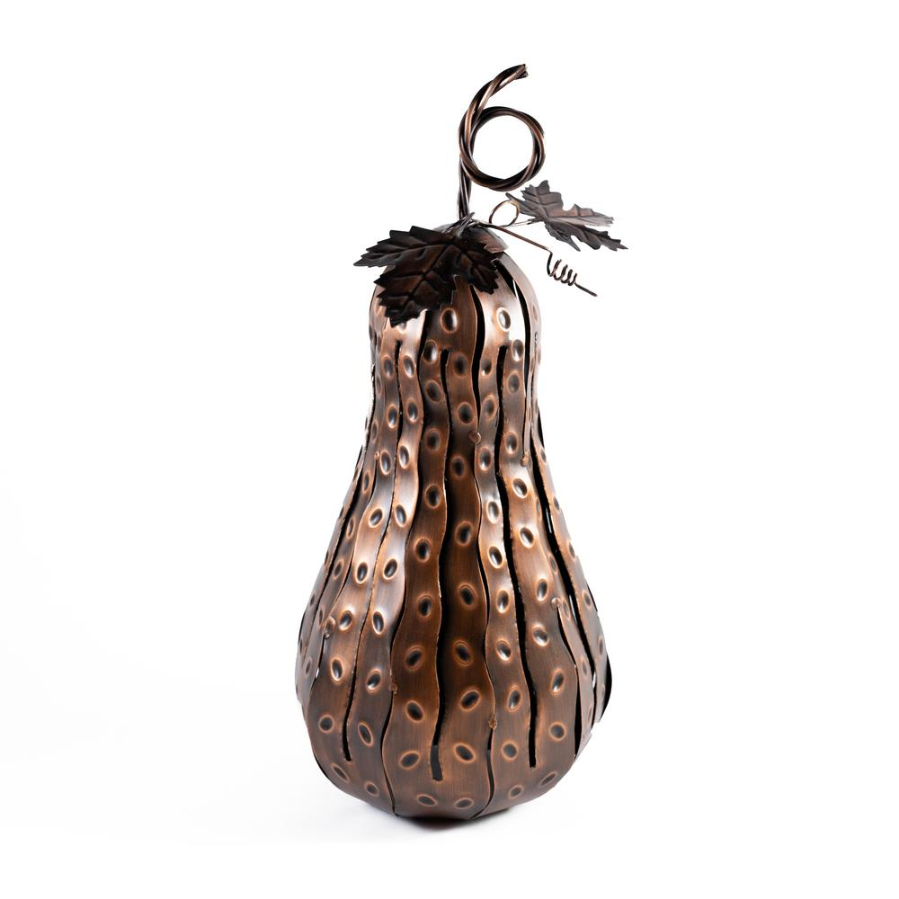 Desert Steel 5.5 in. x 15 in. Bronze Fall Harvest Mini Tall Gourd Luminary