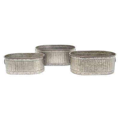 19.75 in. x 12.5 in. Planters in Gray (Set of 3)