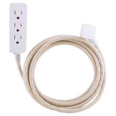 10 ft. Decor Extension Cord with 3 Grounded Outlets Surge Protection, Light Brown/White