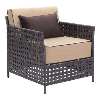Pinery Brown Wicker Outdoor Patio Lounge Chair with Beige Cushion (Pack of 2)