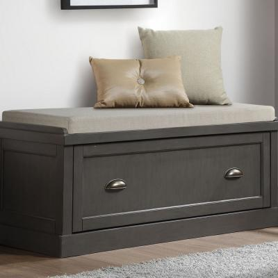 Aislins Gray with Fabric Rectangular Storage Bench