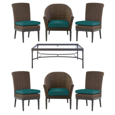 Camden Dark Brown 7-Piece Wicker Outdoor Patio Dining Set with Sunbrella Peacock Blue/Green Cushions