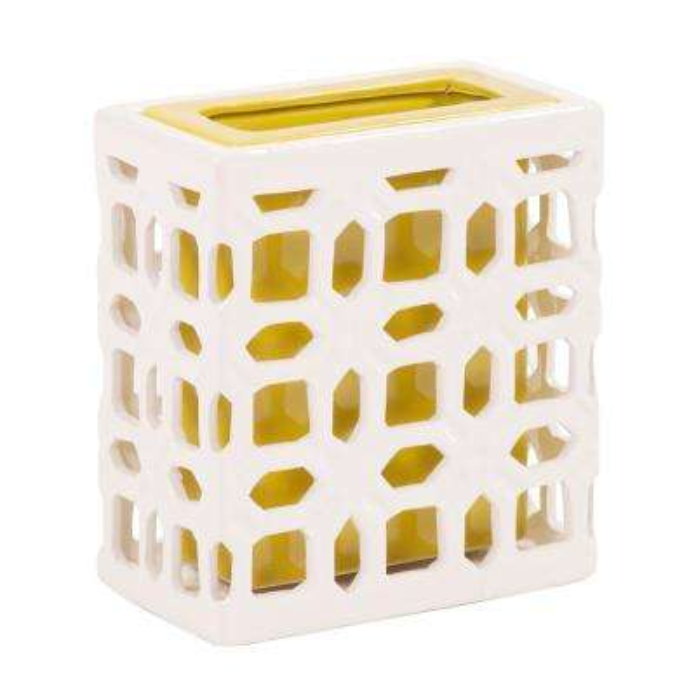 White Lattice Ceramic Decorative Vase Small
