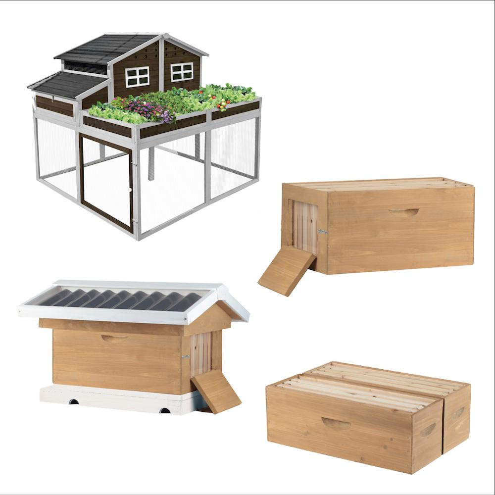 Garden Trio Chicken Coop and Victorian Teak Backyard Bee ...