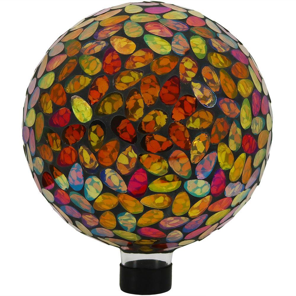 Sunnydaze Mosaic Garden 10 in. Gazing Ball Yard Decor Gold