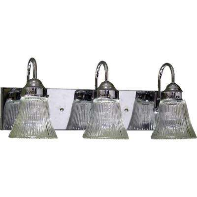 Marti 3-Light Indoor Chrome Bath or Vanity Light Wall Mount or Wall Sconce with Clear Ribbed Glass Bell Shades