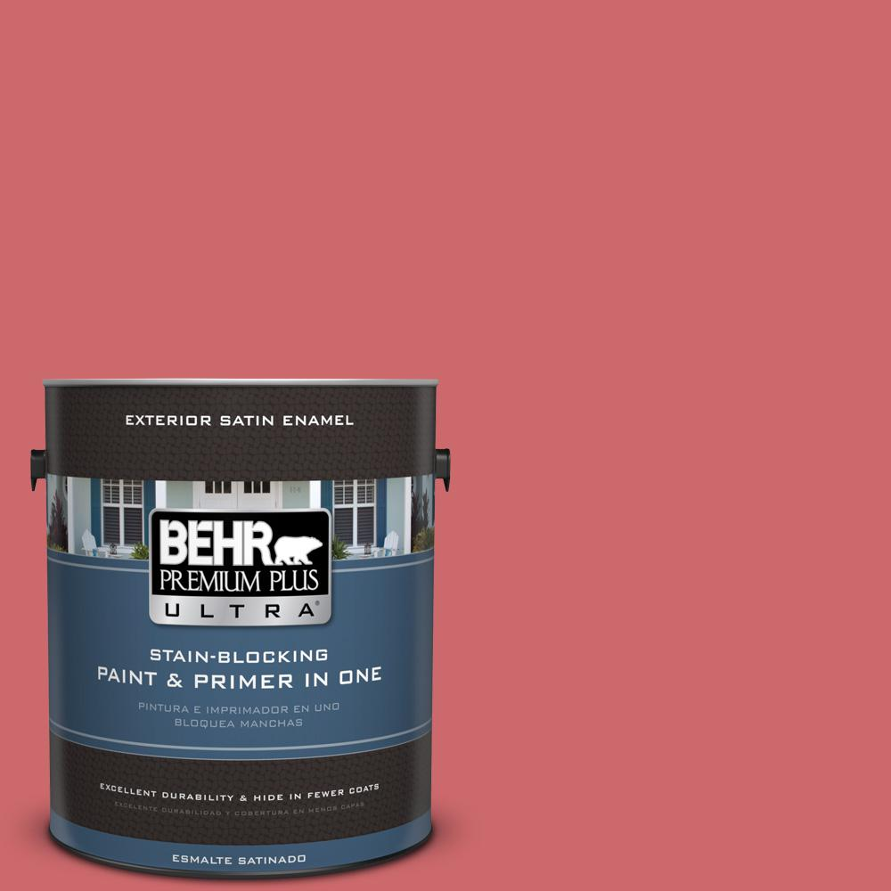 BEHR Premium Plus Ultra 1 gal. #MQ4-2 Strawberry Wine Satin Enamel Exterior Paint and Primer in One