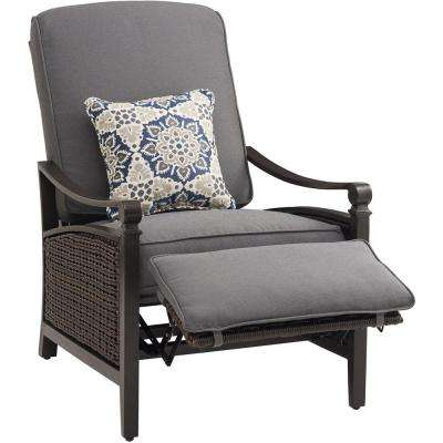 Havana Brown Wicker Outdoor Recliner with Cushions in Indigo