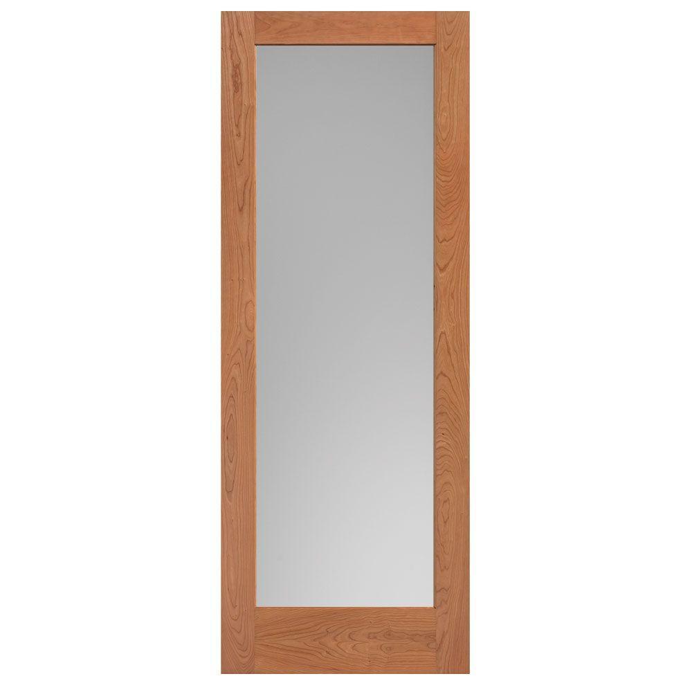 40 in. x 84 in. Cherry Veneer 1-Lite Solid Wood Interior Barn Door Slab