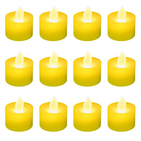 Lumabase Amber LED Tealight Candles (Box of 12) 36212