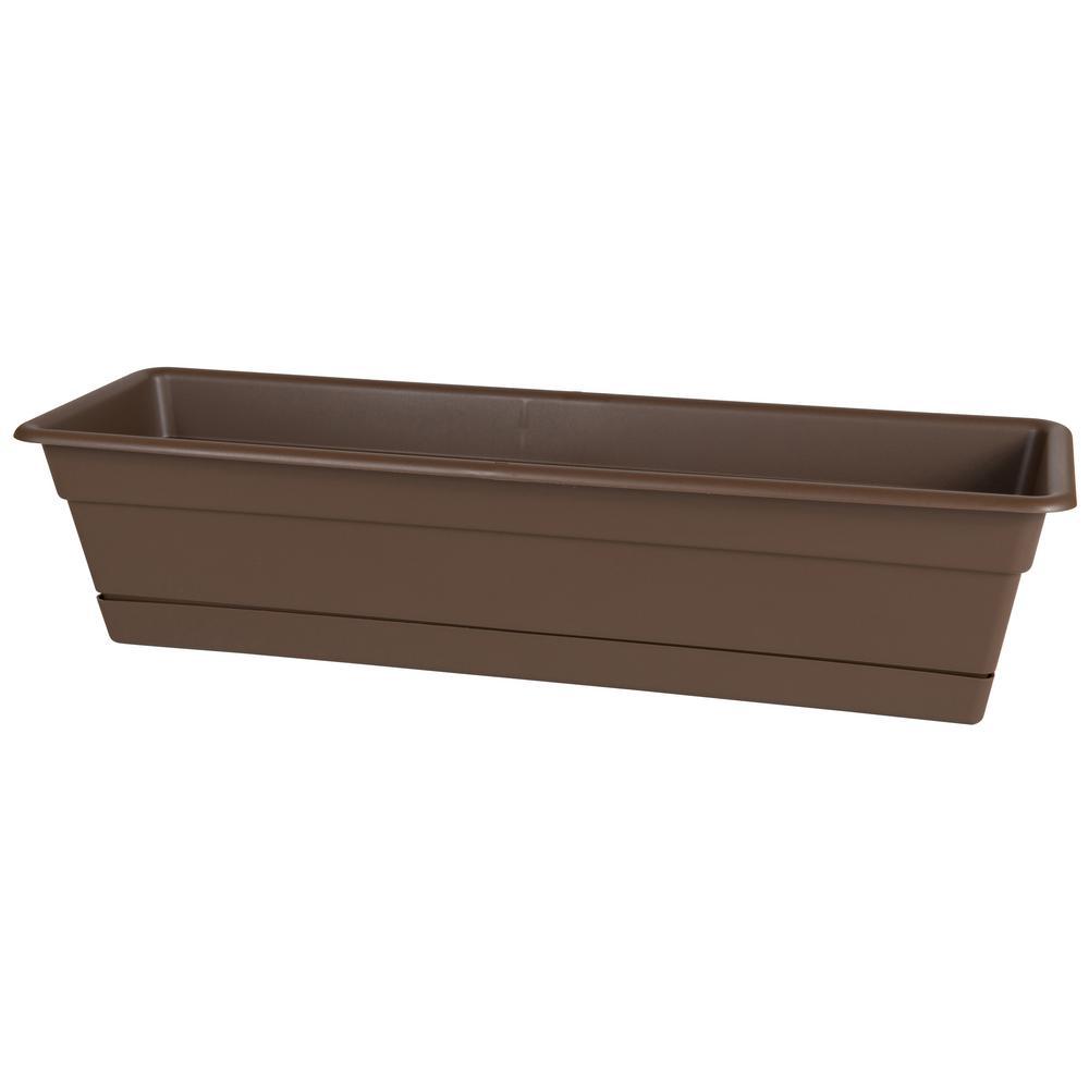 30 x 5.75 Chocolate Dura Cotta Plastic Window Box Planter w/ Saucer