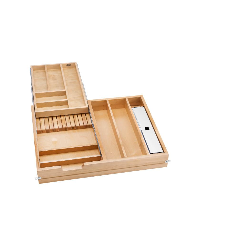 Rev-A-Shelf 28.5 in. Tiered Cutlery Drawer with Soft-Close Slides for frameless, Unfinished Wood Rev-A-Shelf 28.5 in. Tiered Cutlery Drawer with Soft-Close Slides for frameless, Unfinished Wood