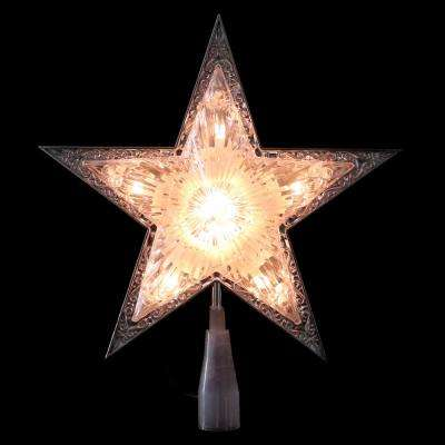 9 in. Silver and Clear Crystal 5 Point Star Christmas Tree Topper