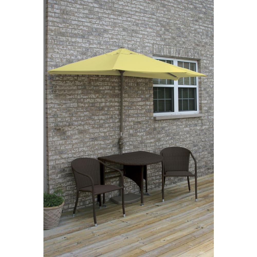 Blue Star Group Terrace Mates Genevieve 5-Piece Java Patio Bistro Set with 9 ft. Yellow Olefin Half-Umbrella