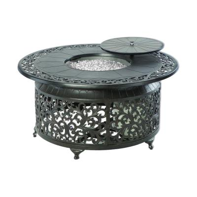 Bellagio 22 in. x 48 in. Round Cast Aluminum Propane Gas Fire Pit Table with Glacier Ice Firebeads