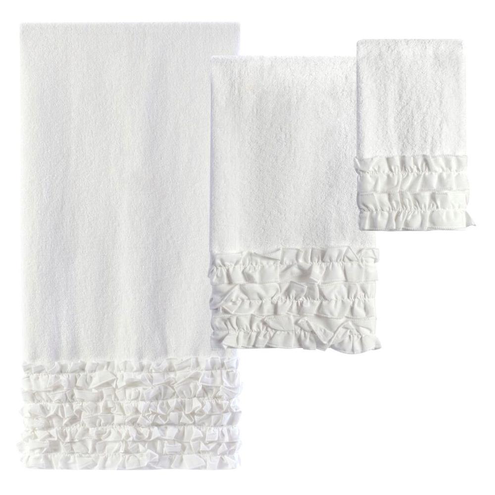 Ruffles 3-Piece 100% Cotton Decorative Towel Set in White