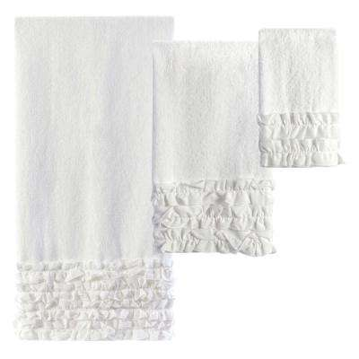 Ruffles 3-Piece 100% Cotton Decorative Towel Set in White