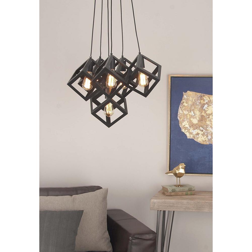 6-Light Modern Black Iron Cube Pendant