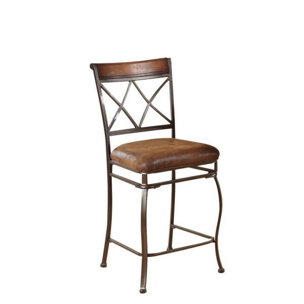 ACME Furniture Tavio 24 in. Black Gold Brush Cushioned Bar Stool
