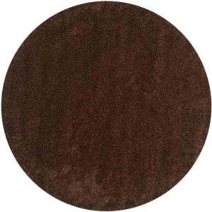 California Shag Brown 7 ft. x 7 ft. Round Area Rug